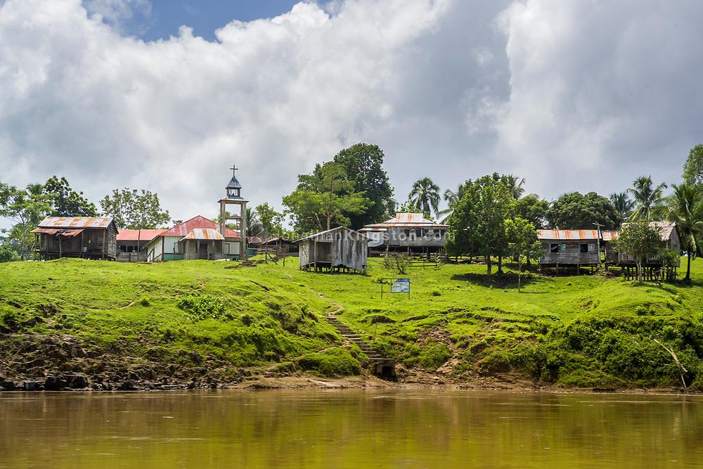 A Miskito town on the Rio Coco river near Waspan, Nicaragua.