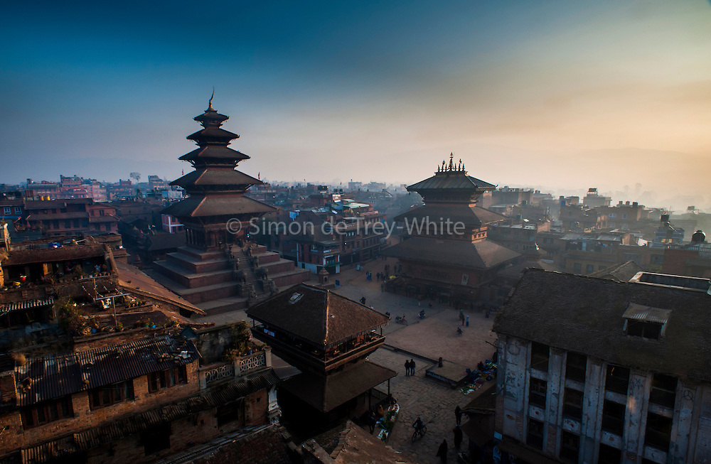 31st December 2013, Bhaktapur, Nepal. Dawn view over Taumadhi Square on the 31st December 2013,in Bhaktapur, Nepal.<br />