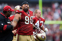 07 December 2008: Defensive end Isaac Sopoaga of the San Francisco 49ers smiles against the New York Jets during the first half of the 49ers 24-14 victory over the Jets at Candlestick Park in San Francisco.