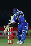 Rajasthan Royals captain Rahul Dravid attacks a delivery from Mohit Sharma of Chennai Super Kings  during the first semi-final match of the Karbonn Smart Champions League T20 (CLT20) 2013  between The Rajasthan Royals and the Chennai Superkings held at the Sawai Mansingh Stadium in Jaipur on the 4th October 2013<br /> <br /> Photo by Ron Gaunt-CLT20-SPORTZPICS<br /> <br /> Use of this image is subject to the terms and conditions as outlined by the CLT20. These terms can be found by following this link:<br /> <br /> http://sportzpics.photoshelter.com/image/I0000NmDchxxGVv4