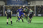 AFC Wimbledon midfielder Dannie Bulman (4) gets in the thick of it during the The Emirates FA Cup 1st Round Replay match between AFC Wimbledon and Bury at the Cherry Red Records Stadium, Kingston, England on 15 November 2016. Photo by Stuart Butcher.
