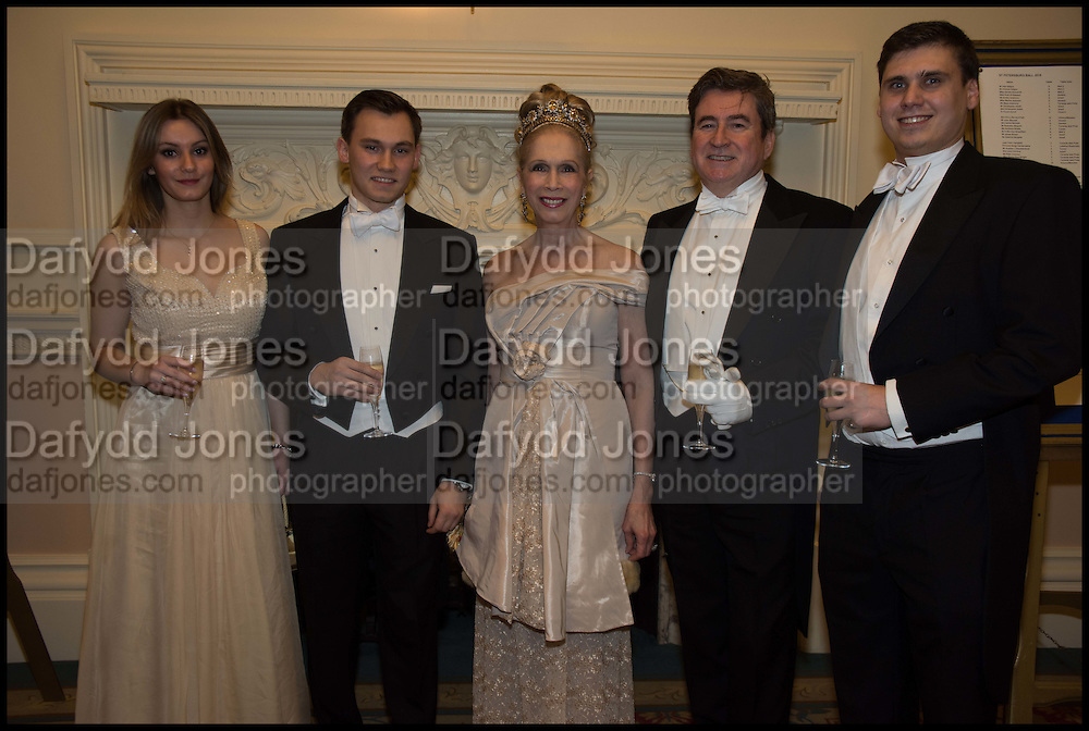 PRISCILLA DEZON; DIMITRI ZIADIE-CAMPBELL; LADY COLIN CAMPBELL; PETER COLEMAN; MICHAEL ZIADIE-CAMPBELL , The St. Petersburg Ball. In aid of the Children's Burns Trust. The Landmark Hotel. Marylebone Rd. London. 14 February 2015. Less costs  all income from print sales and downloads will be donated to the Children's Burns Trust.
