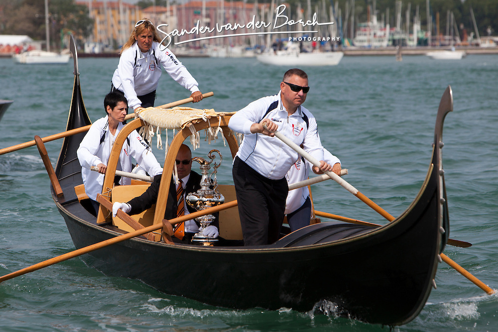 "Artemis Racing in La ""Sensa"", traditional Venice boat gathering. Sunday, May 20th 2012, AC45 World Series Venice."