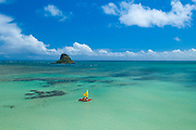 Outrigger Sailing Canoe, Kualoa, Kaneohe Bay, Oahu, Hawaii