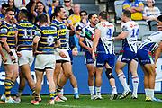 The Warriors celebrate the Gerard Beale try. Parramatta Eels v Vodafone Warriors. NRL Rugby League. Bankwest Stadium, Sydney, Australia. 27th July 2019. Copyright Photo: David Neilson / www.photosport.nz