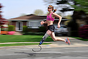 Sullivan Award winner, Amy Palmiero-Winters, is an ultra marathon runner who wears a prosthetic leg made especially for her by A Step Ahead Prosthetics in Hicksville, N.Y. Palmiero-Winters is the first amputee to qualify for the U.S. track and field team. Photo by Kathy Kmonicek.