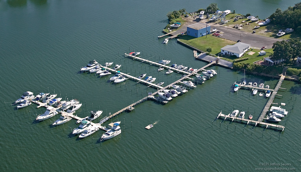 Aerial Photography of a boats at a Baltimore area marina