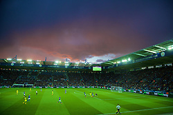 LEICESTER, ENGLAND - Wednesday, April 29, 2015: Red skies over Filbert Way Stadium as Leicester City take on Chelsea during the Premier League match. (Pic by David Rawcliffe/Propaganda)