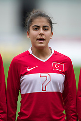 LLANELLI, WALES - Thursday, March 31, 2011: Turkey's Sevgi C?inar lines-up before the UEFA European Women's Under-19 Championship Second Qualifying Round (Group 3) match against Iceland at Parc Y Scarlets. (Photo by David Rawcliffe/Propaganda)