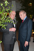 FREDERICK FORSYTH; SIR DAVID FROST, The Cartier Chelsea Flower show dinner. Hurlingham club, London. 20 May 2013.