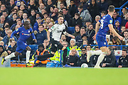 Chelsea midfielder Ngolo Kante (7) chases Derby County defender Scott Malone (46) during the EFL Cup 4th round match between Chelsea and Derby County at Stamford Bridge, London, England on 31 October 2018.