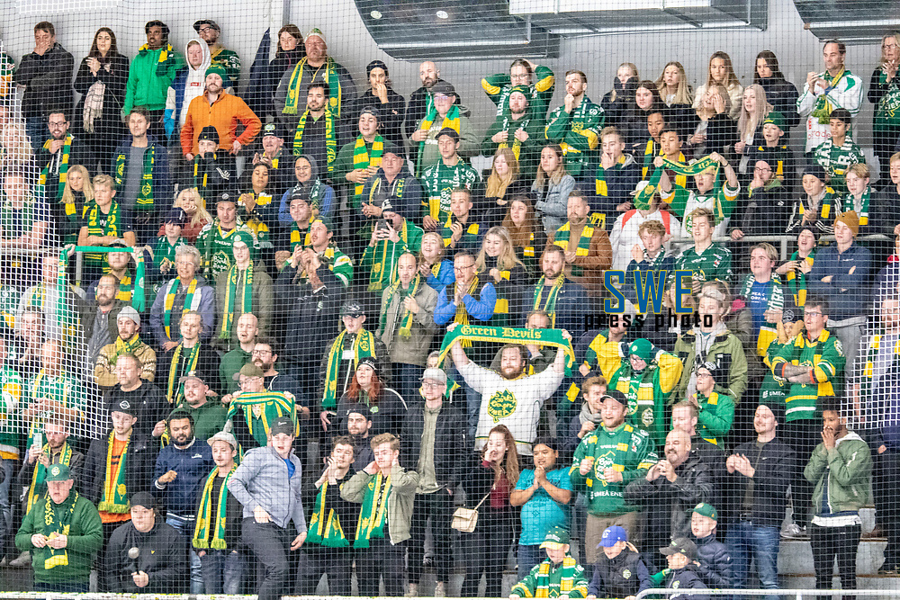 2019-10-09 | Umeå, Sweden: Happy supporters after 6-3 win in HockeyAllsvenskan after the game  between Björklöven and Karlskoga at A3 Arena ( Photo by: Michael Lundström | Swe Press Photo )<br /> <br /> Keywords: Umeå, Hockey, HockeyAllsvenskan, A3 Arena, Björklöven, Karlskoga, bk191009