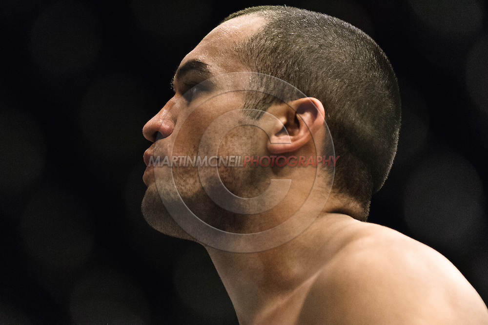 """NEWCASTLE, ENGLAND, UNITED KINGDOM, JANUARY 19 2008: Wilson Gouveia stands ready in his corner during """"UFC 80: Rapid Fire"""" inside the Metro Radio Arena in Newcastle, England on January 19, 2008."""