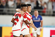 Kotaro MATSUSHIMA (JPN) celebrates his try during the Japan 2019 Rugby World Cup Pool A match between Japan and Russia at the Tokyo Stadium in Tokyo on September 20, 2019.