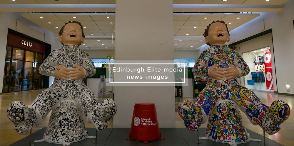 Pictured: Oor Wullie Bucket Art Trail. Leith, Edinburgh, Scotland, United Kingdom, 17 June 2019. An art trail of 200 Oor Wullie sculptures have appeared in Scottish cities overnight in a mass arts event lasting until August 30th. The sculptures will be auctioned to raise money for Scotland's children's hospital charities. There are 5 in the Leith area, and 60 in Edinburgh altogether. The Proclaimers at Ocean Terminal by Vanessa Gibson.<br /> Sally Anderson   EdinburghElitemedia.co.uk