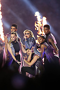 American singer, songwriter, actress and record producer Lady Gaga performs at halftime of the Atlanta Falcons Super Bowl LI football game against the New England Patriots on Sunday, Feb. 5, 2017 in Houston. The Patriots won the game 34-28 in overtime. (©Paul Anthony Spinelli)