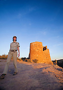 350310-1000 ~ Copyright: George H. H. Huey ~ National Park Ranger Julia Bell at Anasazi culture site, Hovenweep Castle. Hovenweep National Monument, Utah/Colorado.