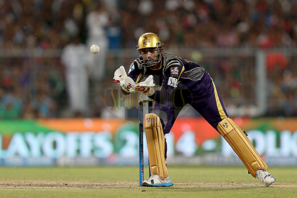 Robin Uthappa during the first qualifier match (QF1) of the Pepsi Indian Premier League Season VII 2014 between the Kings XI Punjab and the Kolkata Knight Riders held at Eden Gardens Cricket Stadium, Kolkata, India on the 28th May 2014. Photo by Jacques Rossouw / IPL / SPORTZPICS<br /> <br /> <br /> <br /> Image use subject to terms and conditions which can be found here:  http://sportzpics.photoshelter.com/gallery/Pepsi-IPL-Image-terms-and-conditions/G00004VW1IVJ.gB0/C0000TScjhBM6ikg
