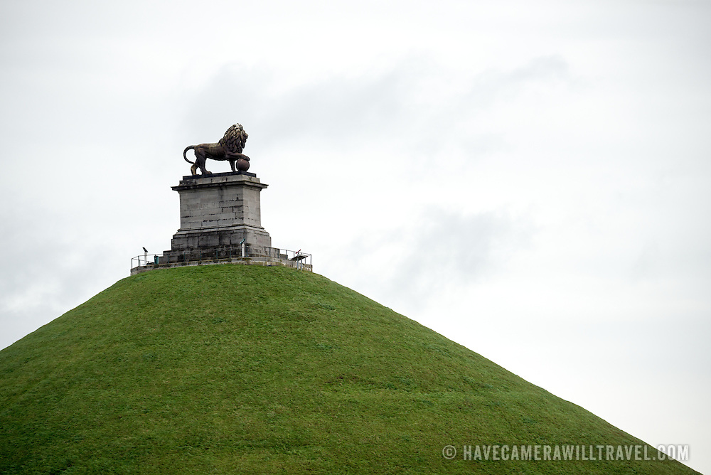 The statue of a lion on top of the Lion's Mound (Butte du Lion), an artificial hill built on the battlefield of Waterloo to commemorate the location where William II of the Netherlands was injured during the battle. The hill is situated on a spot along the line where the Allied army under the Duke of Wellington's command took up positions during the Battle of Waterloo.