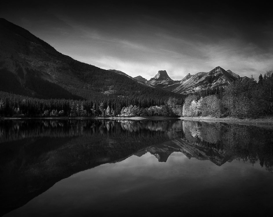Classic view on Wedge Pond in Kananaskis, AB, in fall