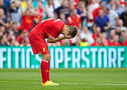 DUBLIN, REPUBLIC OF IRELAND - Saturday, August 10, 2013: Liverpool's Philippe Coutinho Correia looks dejected after missing a chance against Glasgow Celtic during a preseason friendly match at the Aviva Stadium. (Pic by David Rawcliffe/Propaganda)