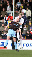 Photo: Mark Stephenson/Richard Lane Photography. <br /> Hereford United v Bury. Coca-Cola League Two. 21/03/2008. Hereford's Dean Beckwith wins the ball from Bury's Glynn Hurst