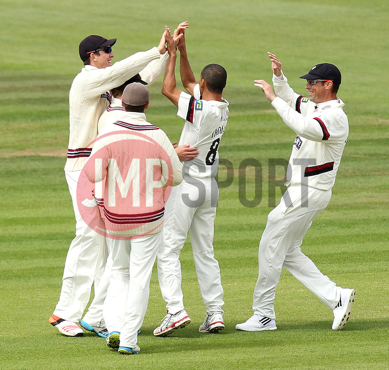 Somerset's Alfonso Thomas celebrates with his team mates after taking the wicket of Hampshire Captain James Adams - Photo mandatory by-line: Robbie Stephenson/JMP - Mobile: 07966 386802 - 22/06/2015 - SPORT - Cricket - Southampton - The Ageas Bowl - Hampshire v Somerset - County Championship Division One