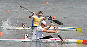 Eton Dorney, Windsor, Great Britain,..GER Men's K1. Max HOFF,  qualifies for the men's 1000 M. Kayak Single [K1] winning Semi Final 2. SWE Men's K1. Anders GUSTAFSSON coming third to go through to the final...2012 London Olympic Canoe and Kayak Sprints Races. Eton Rowing Centre. Dorney Lake. Berkshire.  Dorney Lake.  ... ..11:09:25  Monday  06/08/2012 [Mandatory Credit: Peter Spurrier/Intersport Images]  .