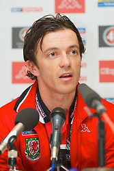 LUXEMBOURG CITY, LUXEMBOURG - Tuesday, March 25, 2008: Wales' captain Simon Davies during a press conference at the Novotel ahead of the International Friendly match against Luxembourg. (Photo by David Rawcliffe/Propaganda)