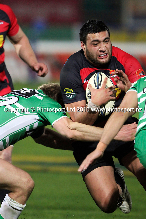 Canterbury's Ash Parker crashes into a tackle. ITM Cup. Manawatu v Canterbury, FMG Stadium, Palmerston North, 5 August 2010. Photo: John Cowpland/PHOTOSPORT