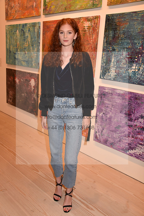 Lizzie Mawson at a preview of an exhibition of art by Sassan Behnam-Bakhtiar entitled 'Oneness Wholeness' held at the Saatchi Gallery, Duke of York's HQ, King's Rd, London, England. 14 May 2018.