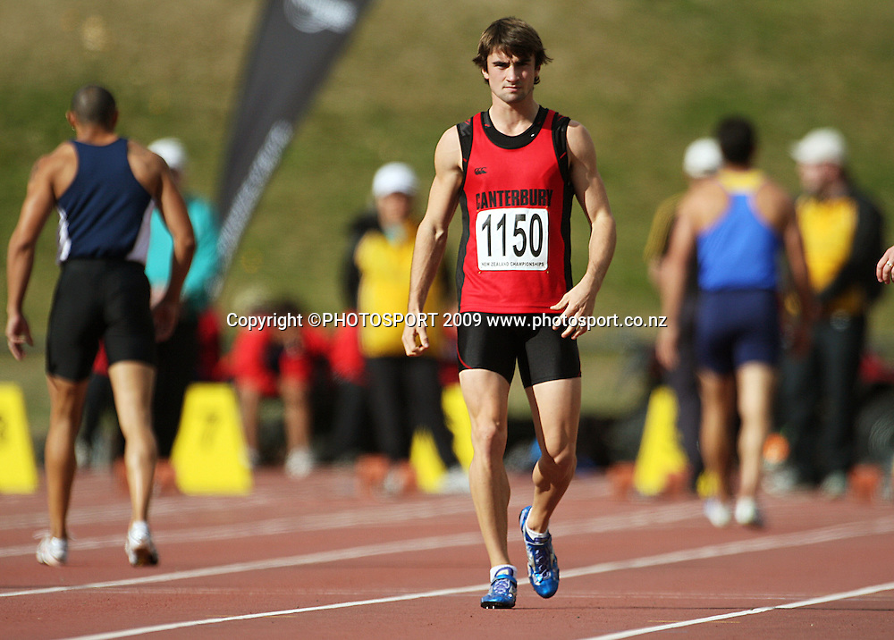 Canterbury's David Ambler, who was disqualified from the men's 100m final for a false start.<br /> National athletics championships at Newtown Park, Wellington. Friday, 27 March 2009. Photo: Dave Lintott/PHOTOSPORT