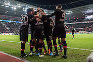 Bayer Leverkusen celebrate their second goal against Borussia Monchengladbach during the Bundesliga match at BayArena, Leverkusen<br /> Picture by EXPA Pictures/Focus Images Ltd 07814482222<br /> 28/01/2017<br /> *** UK & IRELAND ONLY ***<br /> <br /> EXPA-EIB-170128-1316.jpg