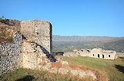 The Lord's Fortress, possibly constructed during the Muzaka family's Feudal Princedom and with 2 towers and an imposing entrance, on the highest spot of the citadel overlooking the town, in Berat Castle or Kalaja e Beratit, in Berat, South-Central Albania, capital of the District of Berat and the County of Berat. Its walls are of typically medieval masonry, a rubble construction with tile packing. The castle itself dates mainly from the 13th century and contains Byzantine churches, Ottoman mosques and housing. It is built on a rocky hill on the left bank of the river Osum. Picture by Manuel Cohen