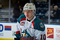 KELOWNA, CANADA - MARCH 13:  Ted Brennan #10 of the Kelowna Rockets warms up against the Spokane Chiefs on March 13, 2019 at Prospera Place in Kelowna, British Columbia, Canada.  (Photo by Marissa Baecker/Shoot the Breeze)