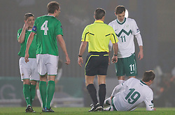 Josip Ilicic #19 of Slovenia injured during EURO 2012 Qualifications game between National teams of Slovenia and Northern Ireland, on March 29, 2011, in Windsor Park Stadium, Belfast, Northern Ireland, United Kingdom. (Photo by Vid Ponikvar / Sportida)