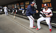 CHICAGO - APRIL 07:  Bench coach Joe McEwing #47 greets Yonder Alonso #17 of the Chicago White Sox prior to the game against the Seattle Mariners on April 7, 2019 at Guaranteed Rate Field in Chicago, Illinois.  (Photo by Ron Vesely)  Subject:  Yonder Alonso; Joe McEwing