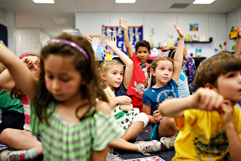 MELISSA LYTTLE   |   Times<br /> SP_351237_LYTT_TWINS_11 (March 15, 2012, Clearwater, Fla.) Engaged and excited about learning, Hailey Scheinman, center left, loves school and loves being in Colleen Davis' first grade gifted class at Leila Davis Elementary with best friend Ainsley Walling, center, right, both 7. On the last day of school, both girls wrote a letter to their principal, Mrs. Hill, detailing the many reasons they should be kept together and put in the same class next year. Hailey's reasons were: that Ainsley once saved her life on the play ground, she would be lonely at lunch and that Ainsley is &quot;the bestest friend I could ever have.&quot; Ainsley's reasons were similar: Hailey's a big help in class, she would also be lonely during lunch and &quot;I would be heart broken.&quot; [MELISSA LYTTLE, Times]