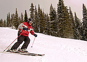 Downhill skiing at Brundage Mountain.