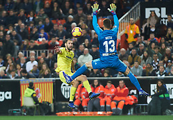 January 26, 2019 - Valencia, Valencia, Spain - Neto Murara of Valencia CF and Alfonso Pedraza of Villarreal CF during the La Liga Santander match between Valencia and Villarreal at Mestalla Stadium on Jenuary 26, 2019 in Valencia, Spain. (Credit Image: © Maria Jose Segovia/NurPhoto via ZUMA Press)