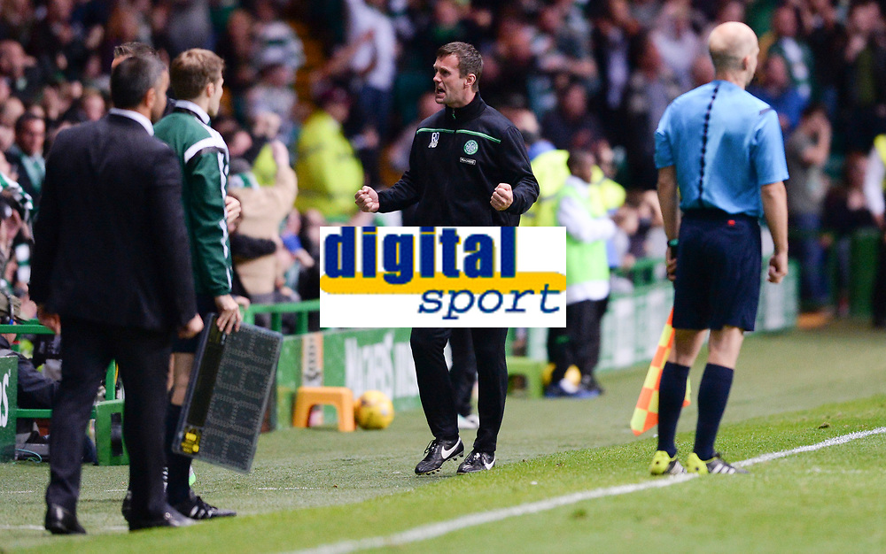 29/07/15 UEFA CHAMPIONS LEAGUE 3RD RND QUALIFIER 1ST LEG<br /> CELTIC v QARABAG FK<br /> CELTIC PARK - GLASGOW<br /> Celtic manager Ronny Deila celebrates as his side go ahead
