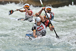 30.06.2013, Eiskanal, Augsburg, GER, ICF Kanuslalom Weltcup, Finale Kanu-Zweier Teams, Maenner. im Bild Franz ANTON (vorne) und Jan BENZIEN (hinten) aus Deutschland, Finale, Team, Kanu, Canoe, C2, Teams, Herren, Deutschland // during the final of canoe double of the men kayak team of ICF Canoe Slalom World Cup at the ice track, Augsburg, Germany on 2013/06/30. EXPA Pictures © 2013, PhotoCredit: EXPA/ Eibner/ Matthias Merz<br /> <br /> ***** ATTENTION - OUT OF GER *****