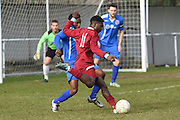 AFC Croydon Athletic's Raheem Sterling-Parker gets a shot in on goal during the Southern Counties East match between AFC Croydon Athletic and Greenwich Borough at the Mayfield Stadium, Croydon, United Kingdom on 12 March 2016. Photo by Martin Cole.