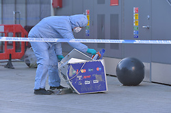 © Licensed to London News Pictures. 20/12/2019. London UK: Forensic officers examine a cash point machine, stolen from the Ibis hotel in Newham, East Londonl. Robbers had driven a van through the front of the hotel at around 5.00 am this morning, Photo credit: Steve Poston/LNP