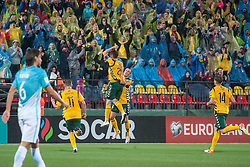 Fiodor Cernych of Lithuania and Egidijus Vaitkunas of Lithuania celebrate after Cernych  scored during football match between National teams of Lithuania and Slovenia in Round #1 of FIFA World Cup Russia 2018 qualifications in Group F, on September 4, 2016 in LFF Stadium Vilnius, Lithuania. Photo by Robertas Dackus / Sportida