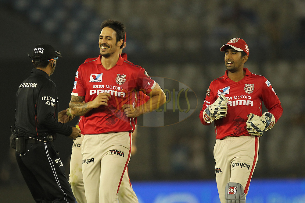 Mitchell Jonhson of Kings XI Punjab celebrates wicket of Ishan Kishan of Gujrat Lions during match 3 of the Vivo Indian Premier League ( IPL ) 2016 between the Kings XI Punjab and the Gujarat Lions held at the IS Bindra Stadium, Mohali, India on the 11th April 2016Photo by Prashant Bhoot/ IPL/ SPORTZPICS
