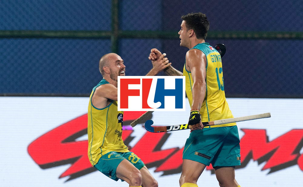 Odisha Men's Hockey World League Final Bhubaneswar 2017<br /> Match id:05<br /> 05 GER v AUS (Pool B)<br /> Foto:  Australian celebrati&euml;n for 1-2, Matthew Swan and the goal scorer Blake Govers (Aus) <br /> WORLDSPORTPICS COPYRIGHT FRANK UIJLENBROEK
