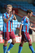 Paddy Madden at end of game after he scored both goals during the Sky Bet League 1 match between Scunthorpe United and Crewe Alexandra at Glanford Park, Scunthorpe, England on 15 August 2015. Photo by Ian Lyall.