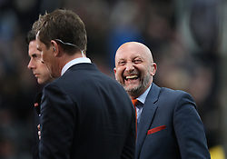 Pundit and former manager Ian Holloway (R) jokes with fans at the final whistle - Mandatory by-line: Jack Phillips/JMP - 23/04/2016 - FOOTBALL - iPro Stadium - Derby, England - Derby County v Sheffield Wednesday - Sky Bet Championship
