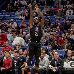Dec 3, 2018; New Orleans, LA, USA; LA Clippers guard Patrick Beverley (21) shoots against the New Orleans Pelicans during the second quarter at the Smoothie King Center. Mandatory Credit: Derick E. Hingle-USA TODAY Sports